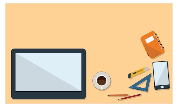 Illustration des schreibtischs und des stationären in der draufsicht der flachen art