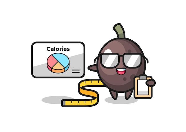 Illustration des schwarzen olivenmaskottchens als ernährungsberater, niedliches design für t-shirts, aufkleber, logo-elemente
