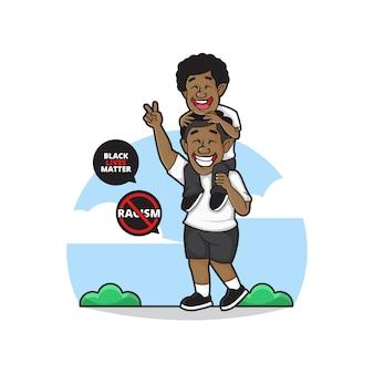 Illustration des schwarzen volkscharakters, vater trägt seinen glücklichen sohn mit stop-rassismus-symbol