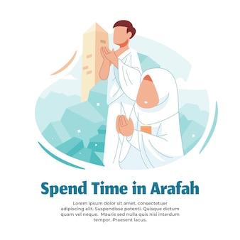 Illustration des schweigens und betens in arafah
