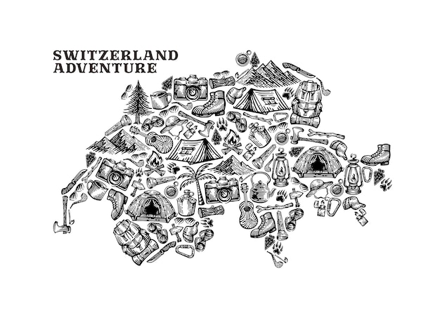 Illustration des schweizer landes mit campingelement