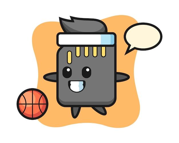 Illustration des sd-karten-cartoons spielt basketball, niedlichen stilentwurf für t-shirt