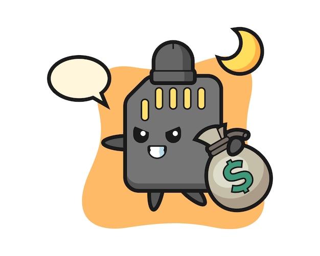 Illustration des sd-karten-cartoons wird das geld gestohlen, niedlicher stilentwurf für t-shirt