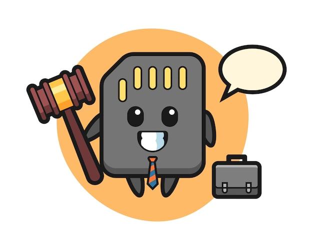 Illustration des sd-kartenmaskottchens als anwalt, niedlicher stilentwurf für t-shirt