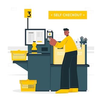 Illustration des self-checkout-konzepts Kostenlosen Vektoren
