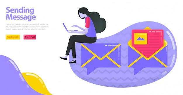 Illustration des sendens der nachricht. ballon-chat-symbol mit image map oder umschlag. e-mail öffnen und lesen.