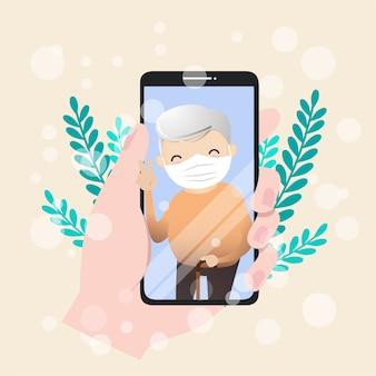 Illustration des seniorencharakters mit smartphone. senioren tätigen videoanrufe, um bei ausbruch einer pandemie zu kommunizieren.