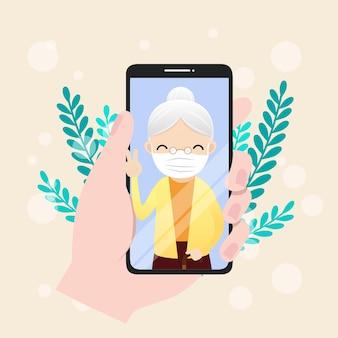 Illustration des seniorencharakters mit smartphone. senioren tätigen videoanrufe, um bei einem ausbruch der covid19-pandemie zu kommunizieren.