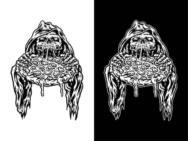 Illustration des sensenmanns, der pizza isst, lokalisiert auf dunklem und hellem hintergrund
