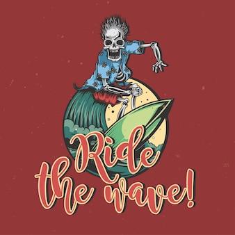 Illustration des skeletts auf dem surfbrett