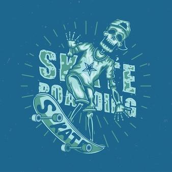 Illustration des skeletts auf skateboard