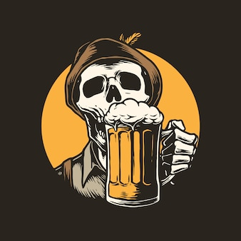 Illustration des skeletts, das bier trinkt