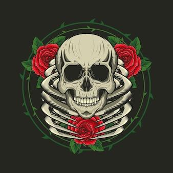 Illustration des skeletts mit dem detaillierten entwurf der rosen