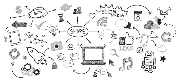 Illustration des social media-konzeptes