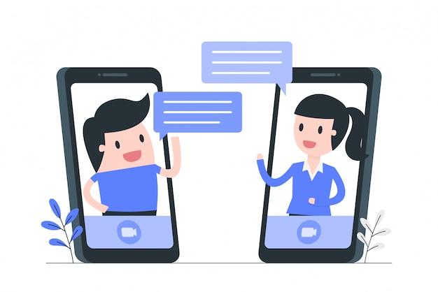 Illustration des social media- und kommunikationskonzepts. Premium Vektoren