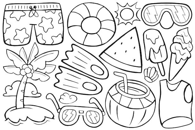 Illustration des sommerdoodles im cartoon-stil