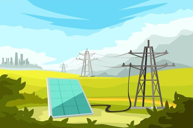 Illustration des sonnenkollektors mit elektrischen türmen, die mit drähten zur stadt auf schöner landschaft verbunden sind