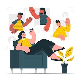 Illustration des sozialen lebenskonzepts