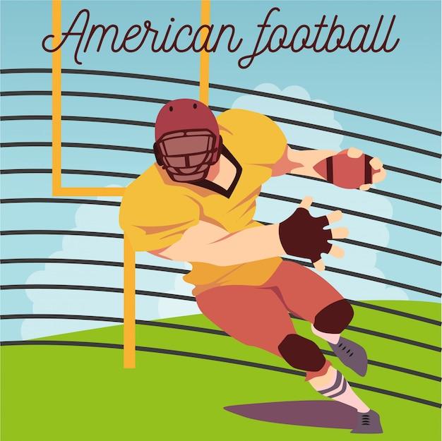 Illustration des spielers des amerikanischen fußballs, der mit ball auf feld läuft.
