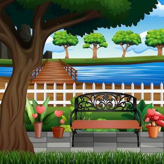Illustration des stadtparks mit bäumen und fluss