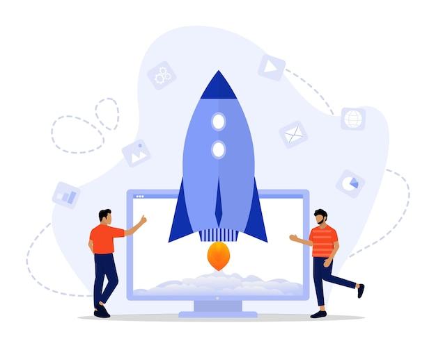 Illustration des startup-lebenskonzepts
