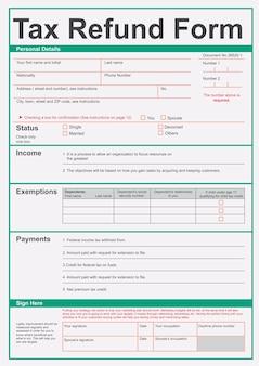 Illustration des steuerrückerstattungsformulars