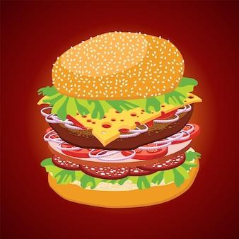 Illustration des stilisierten hamburgers. illustration für design-fast-food-menü.