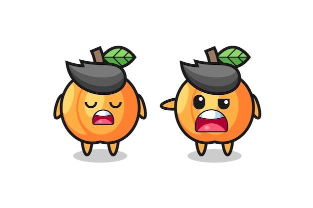 Illustration des streits zwischen zwei süßen aprikosenfiguren, süßem stildesign für t-shirt, aufkleber, logoelement