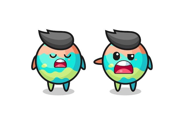 Illustration des streits zwischen zwei süßen badebomben-charakteren, süßem stildesign für t-shirt, aufkleber, logo-element
