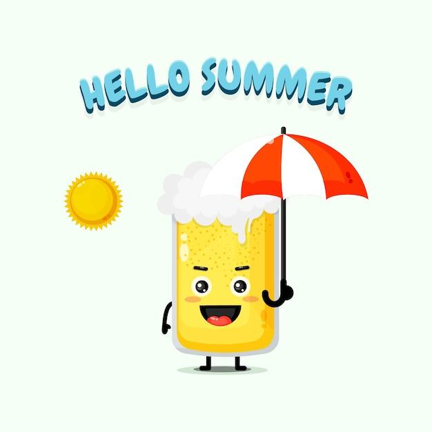 Illustration des süßen biermaskottchens, das regenschirm mit sommergruß trägt