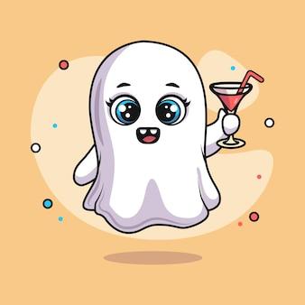 Illustration des süßen geistercharakters, der martini-glas für halloween hält