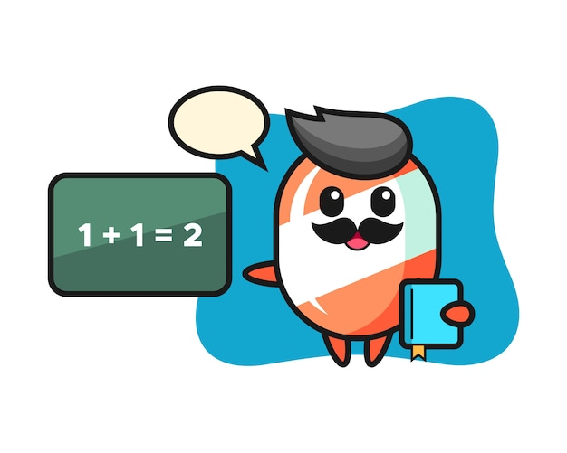 Illustration des süßigkeitscharakters als lehrer