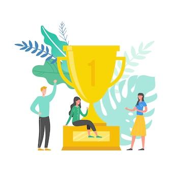 Illustration des teamerfolgskonzepts. wirtschaftsführer feiern den sieg. mann und frau erreichen belohnung. geschäftsmann und geschäftsfrau gewinnen trophäe. siegpreis