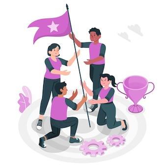 Illustration des teamzielkonzepts