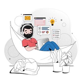 Illustration des telearbeitskonzepts