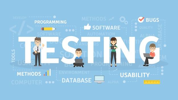 Illustration des testkonzepts. idee, neue software zu entwickeln.