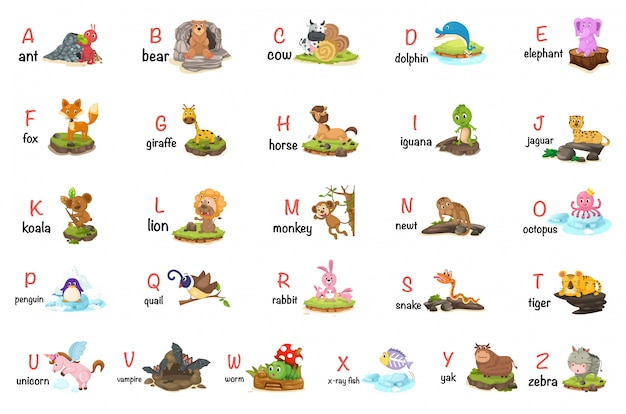 Illustration des tieralphabetbuchstaben az