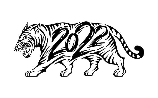 Illustration des tigers mit kalligraphiejahr 2022 im doodle-tinten-stil