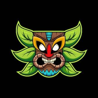 Illustration des tiki-masken-e-sport-maskottchens