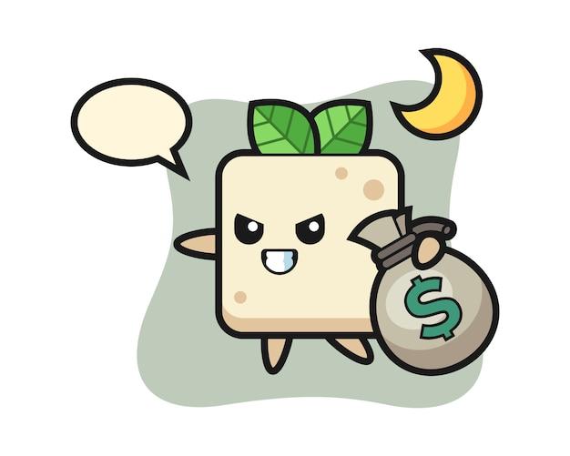 Illustration des tofu-cartoons wird das geld gestohlen, niedlicher stilentwurf für t-shirt