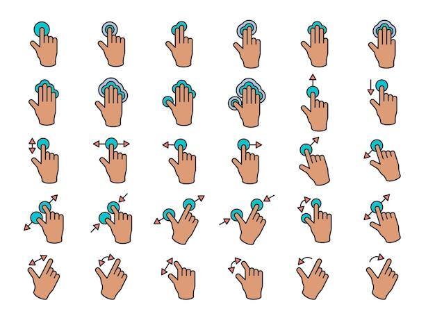 Illustration des touch screen übergibt geste in der dünnen linie