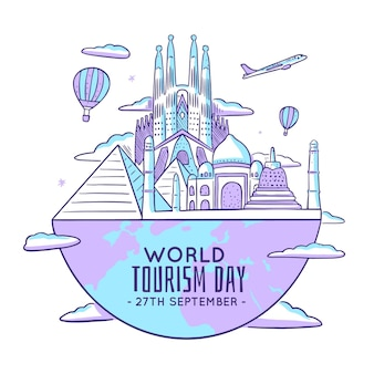 Illustration des tourismus-tages mit den wahrzeichen der welt