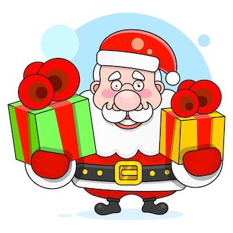 Illustration des tragenden sacks santa clauss voll geschenke