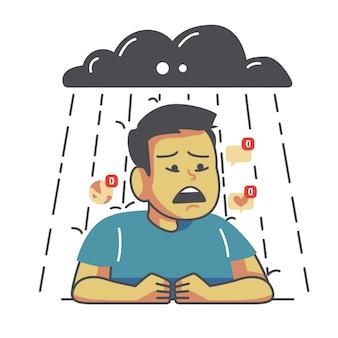 Illustration des traurigen mannes der karikatur