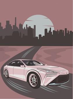 Illustration des treibenden autos aus der stadt heraus