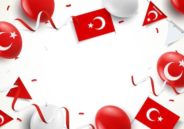 Illustration des türkei-feiertags. hintergrund mit luftballons, fahnen