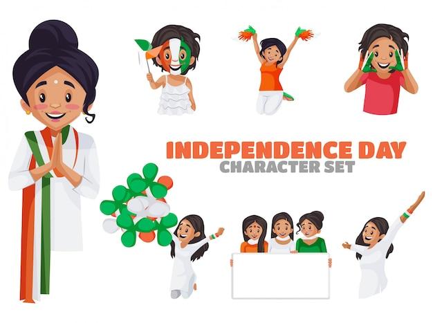 Illustration des unabhängigkeitstag-aufkleber-satzes