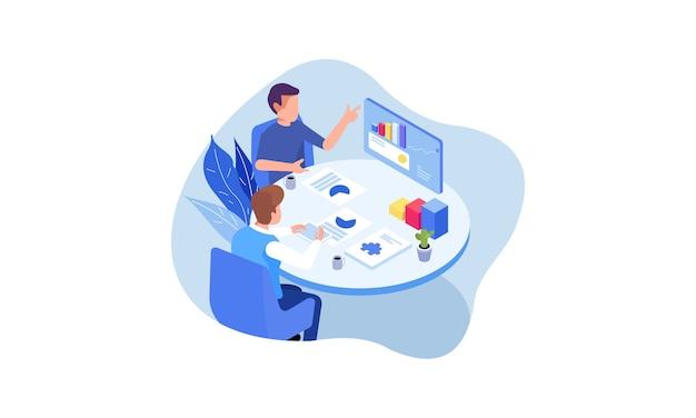 Illustration des unternehmensberatungskonzepts. flaches design mit comicfiguren