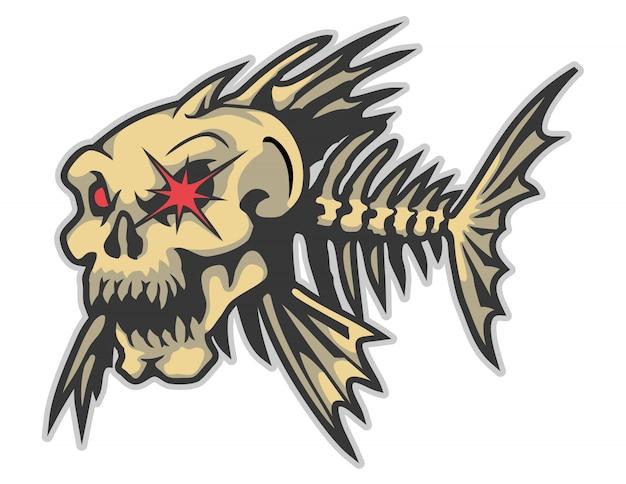 Illustration des verärgerten fischknochen-karikaturvektors