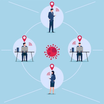 Illustration des verfolgungsortes, den personen mit virus kontaktieren.